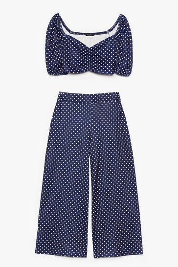 Navy Polka Dot Your Baby Crop Top and Culottes Set