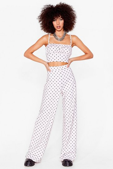 Ivory Dot No Regrets Crop Top and Wide-Leg Pants Set