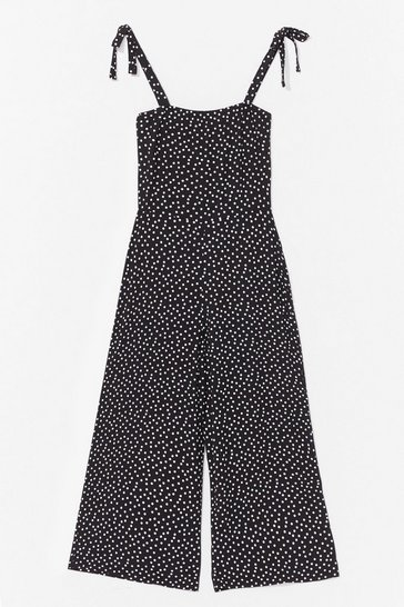 Black Polka Dot a Bad Idea Tie Culotte Jumpsuit