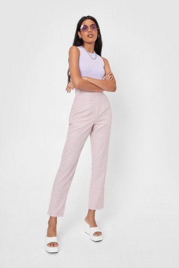 Blush In Check High-Waisted Tapered Pants