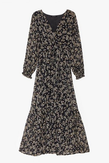 Black We'll Go Floral More Tie Waist Maxi Dress