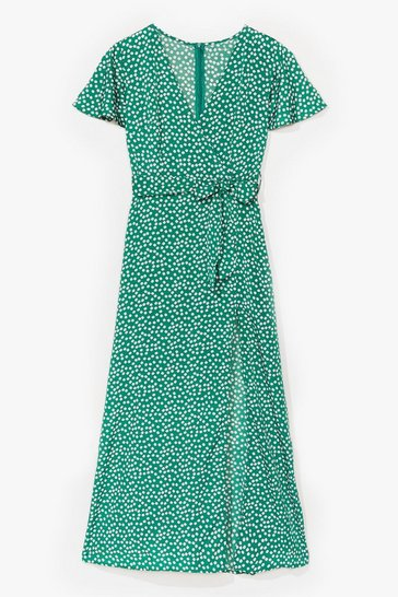 Green Spot to Get Going Belted Midi Dress