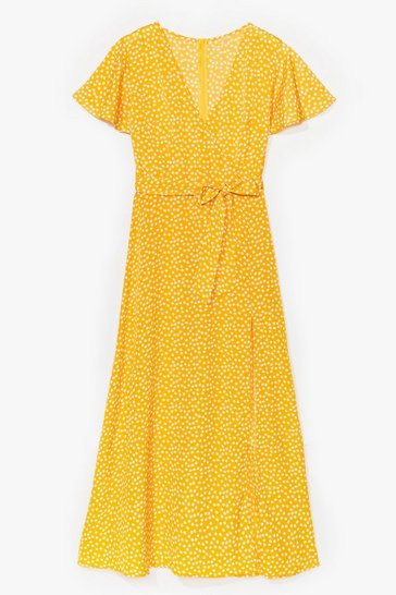 Yellow Spot to Get Going Belted Midi Dress