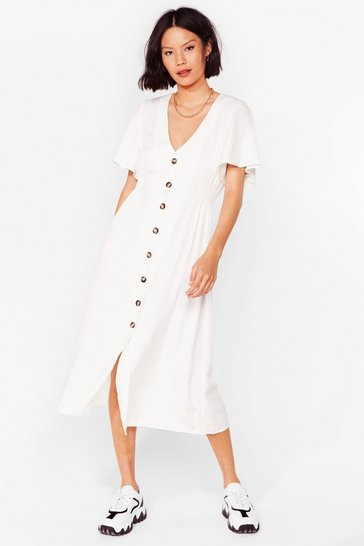 Cream Same But-ton Different Midi Dress