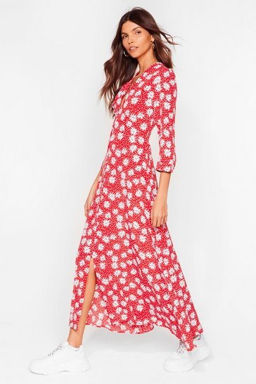 Red Wouldn't It Be Nice Floral Midi Dress