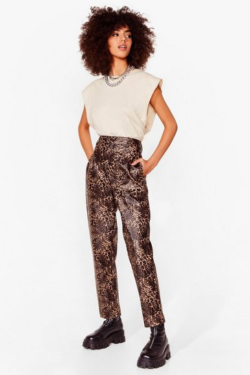 Black Meow We Like It Faux Leather Leopard Pants