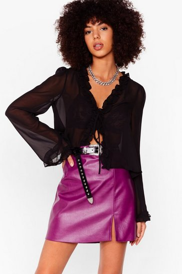 Berry faux leather split leg mini skirt