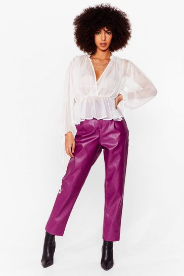 ankle length pu pants, Berry