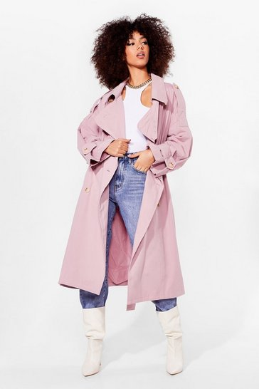 Pink Oversized Longline Belted Trench Coat