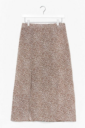 Brown For What Slit's Worth Leopard Midi Skirt
