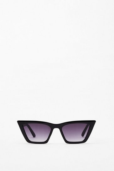 Black Flat Cat Eye Sunglasses
