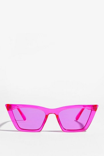 Pink Flat Cat Eye Sunglasses