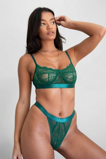 Emerald Watch This Lace Satin Bralette and Panty Set