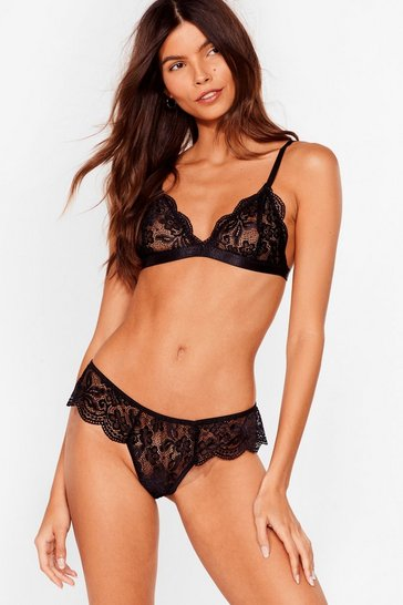 Black Simply the Breast Lace Bralette and Knickers Set