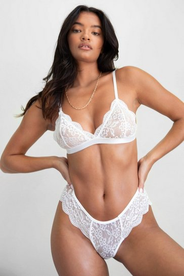 White Simply the Breast Lace Bralette and Panty Set