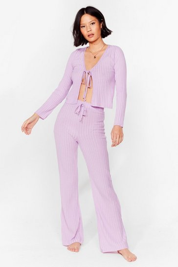 Lilac Say It Lounger Tie Cardigan and Wide-Leg Pants Set