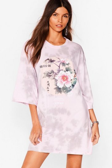 Mauve Be the Flower Graphic Tee Dress