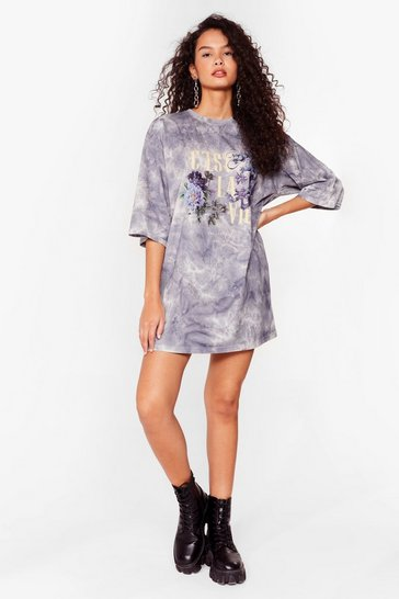 Grey C'est La Vie Tie Dye Mini Dress