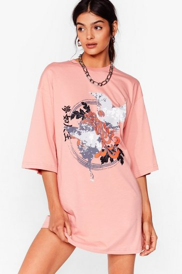 Coral Floral Graphic T-Shirt Dress