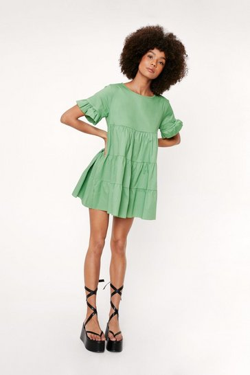 Green Crew Neck Tiered Ruffle Mini Dress