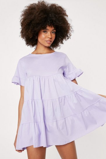 Lilac Crew Neck Tiered Ruffle Mini Dress