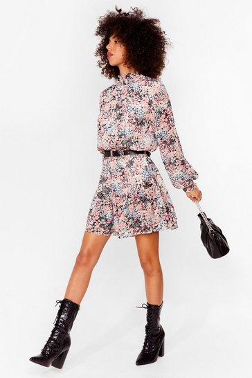 Black Haven't You Shirred Floral Mini Dress