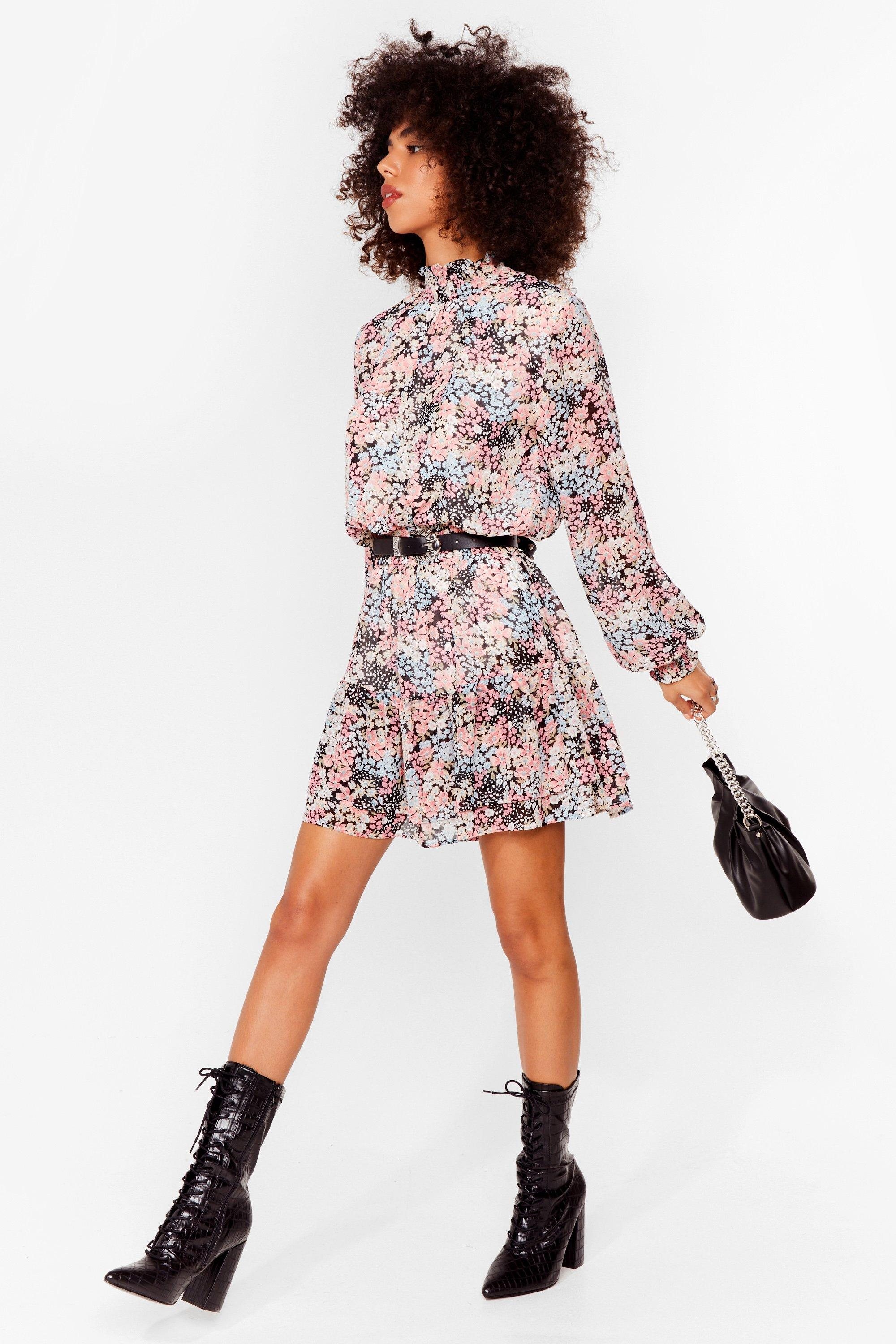 Haven't You Shirred Floral Mini Dress