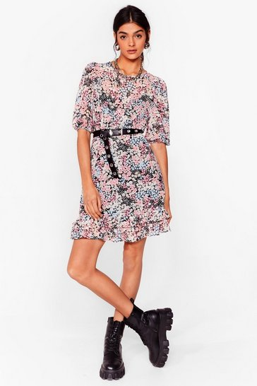 Black It's Teatime Floral Mini Dress
