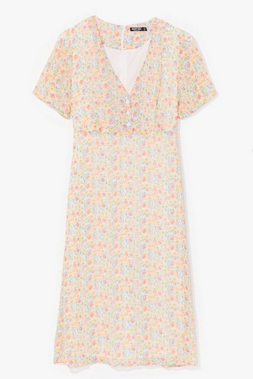 Orange Sweet Escape Floral Midi Dress