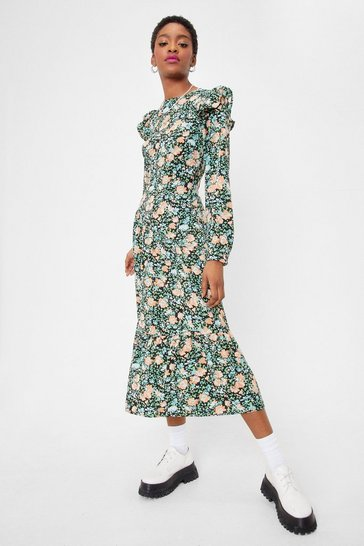 Black Plant Wait Around Floral Midi Dress