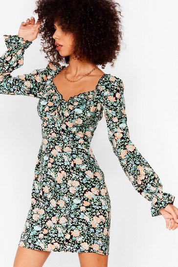 Black Plant Wait Around Floral Mini Dress