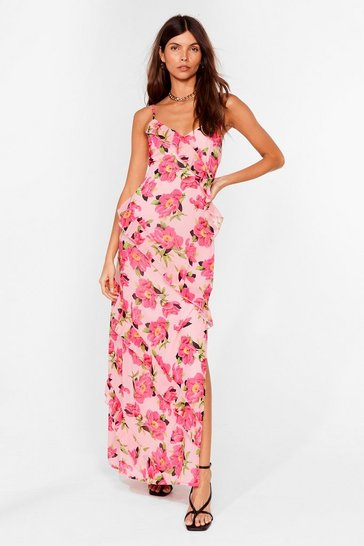 Pink Bud I Like It Floral Maxi Dress