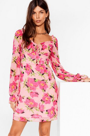 Pink Floral Sweetheart Neck Mini Tea Dress