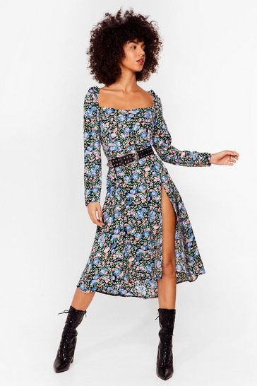 Black Holy Slit Floral Midi Dress