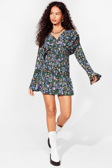 Black I Seed You Now Floral Mini Dress