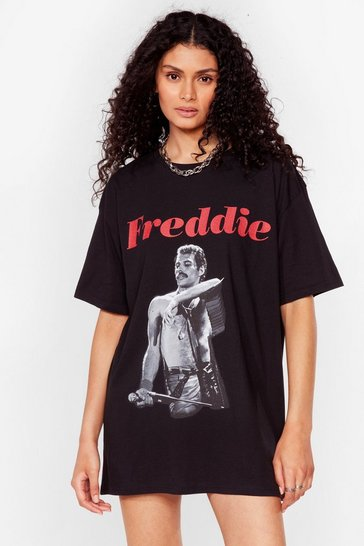 Black Oh Freddie Graphic Band Tee Dress