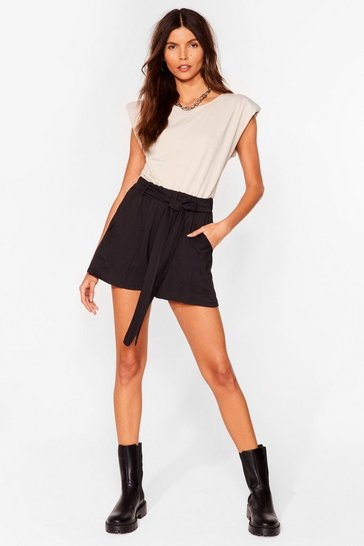 Black Tie Can't Get Enough Belted Relaxed Shorts