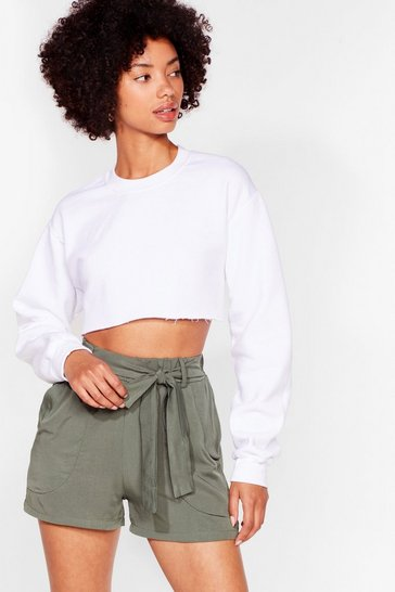 Khaki Tie Can't Get Enough Belted Relaxed Shorts
