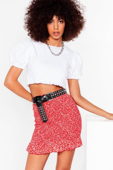 Red Take a Stalk Floral Shirred Mini Skirt