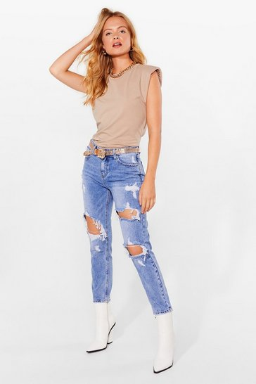 Blue Shred a Tear Distressed High-Waisted Jeans