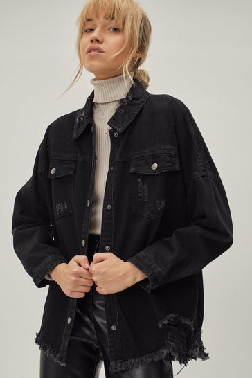Black Let's Rock and Roll Distressed Denim Shirt