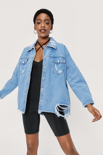 Light blue Extreme Distressed Denim Shirt