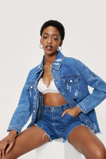 Mid blue Extreme Distressed Denim Shirt