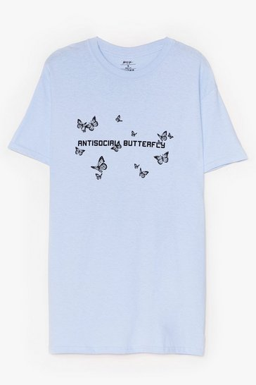 Baby blue Antisocial Butterfly Graphic Tee