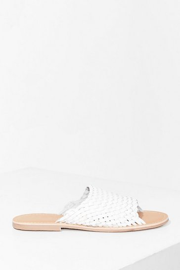 White You'll Never Walk Alone Leather Flat Sandals