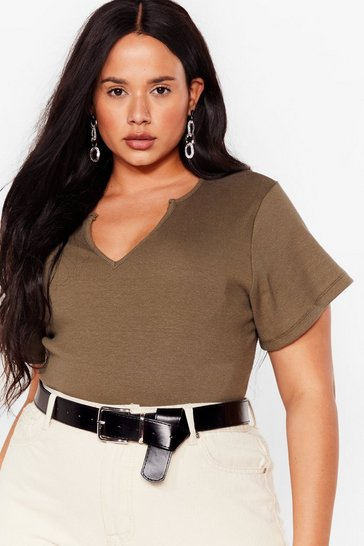 Khaki Sorry Notch Sorry Plus Ribbed Bodysuit