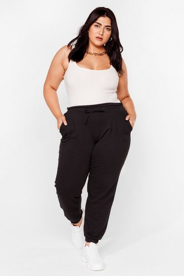 Black Plus Size Paperbag Waist Sweatpants