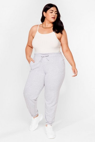 Grey Plus Size Paperbag Waist Sweatpants