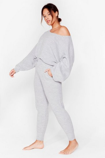 Grey Tell Me What Knit is Plus Lounge Set