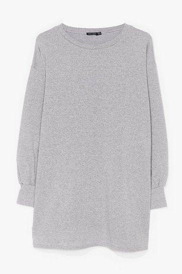 Grey Plus Size Mini Sweatshirt Dress